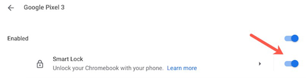 Bật tùy chọnSmart Locklên và nhập mật khẩu Chromebook.